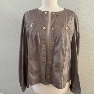 GERRY WEBER faux leather gray lightweight jacket L